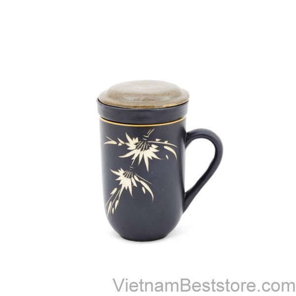 Mug Tea & Filter Set - Black Brown Bamboo Flowers