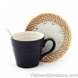 Pottery textured Mug with design rattan dish