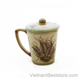 Tea Cup large with drawing dragonfly