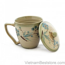 Tea Cup medium with drawing blue cherry