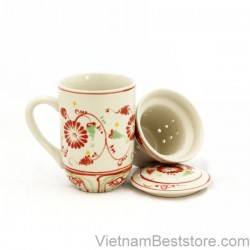 Mug Tea & Filter Set - Red Chrysanthemum Flower