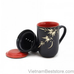 Mug Tea & Filter Set - Black Red Bamboo Flowers