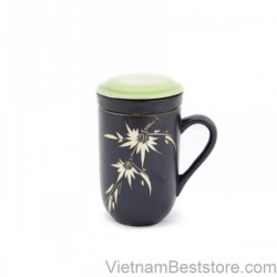 Mug Tea & Filter Set - Black green Bamboo Flowers