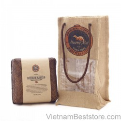 Heritage Coffee Bean BamBoo Box With Burlap Bag -125g