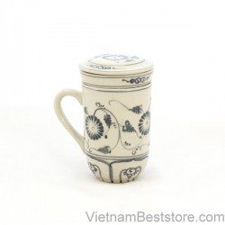 Mug Tea & Filter Set - Blue Chrysanthemum Flower