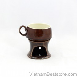 Cups with stove keep warming - Brown Eel skin