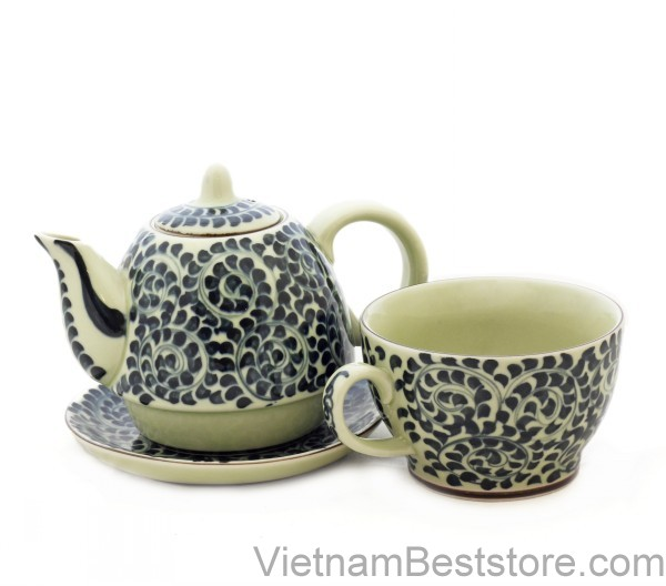 Pair Teapot & Cups floral wire
