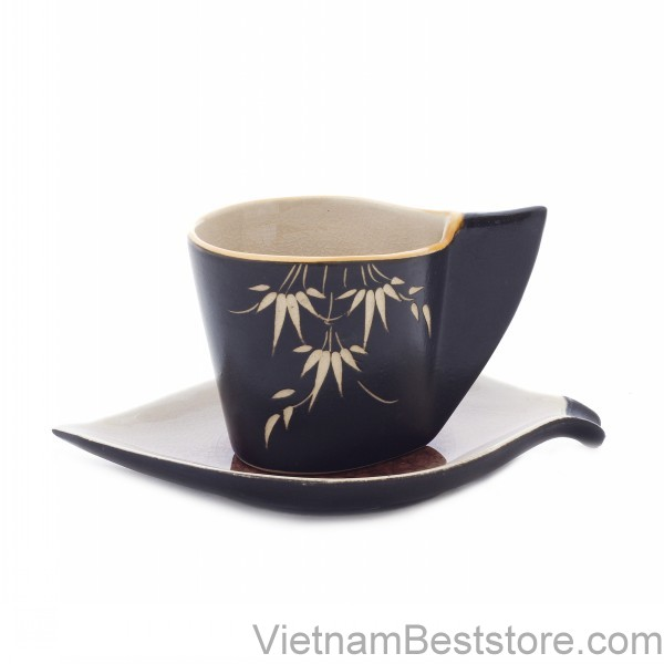Cup Espesso with design mango leaves dish